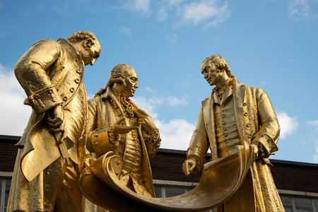 Statue of Matthew Boulton, James Watt, and William Murdoch by William Bloye, Birmingham, England