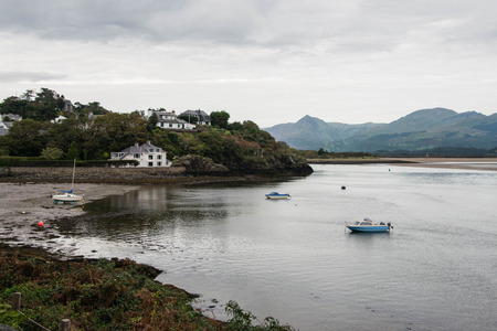 View of Borth-y-gest harbour at low tide, North Wales
