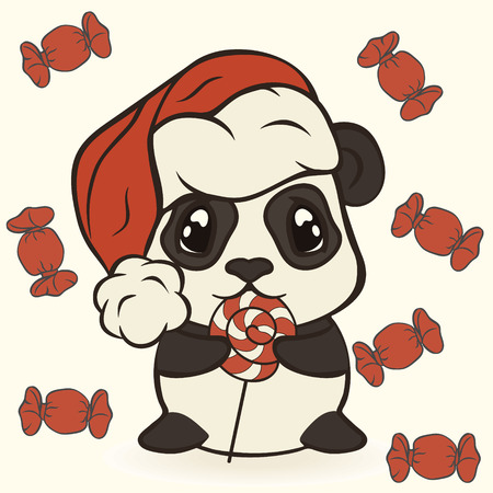 Christmas panda bear in red sweets. Happy panda with sugarplum. Bearcat in Christmas mood. Xmas card image. Merry Christmas and Happy New Year.