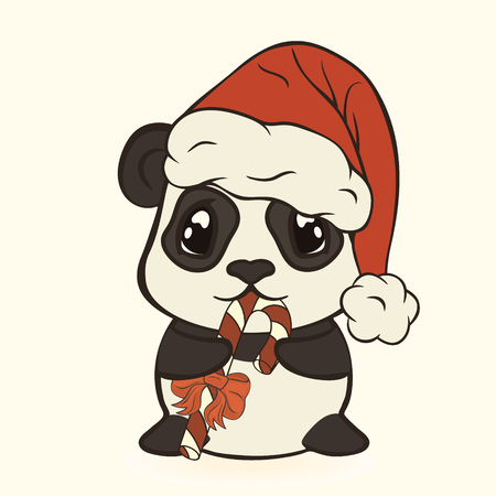 Christmas hat with pompon eat sugar lollipop striped stick. Happy panda with candy cane. Bearcat in Christmas mood. Xmas card image. Merry Christmas and Happy New Year.