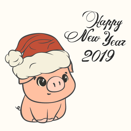 Christmas pig in santa hat with pompon image isolated. Funny piggy with cute face, cartoon character. Childrens Xmas design. Merry Christmas and Happy New Year style. Make a wish post card.