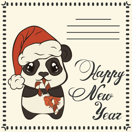 Christmas card Panda with sugarplum. Bearcat in Christmas mood. Xmas card.