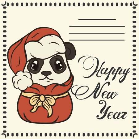 Happy New Year. Happy New Year. Cartoon bearcat gets out of santa clauss sack. Childrens Xmas design. Make a wish post card.