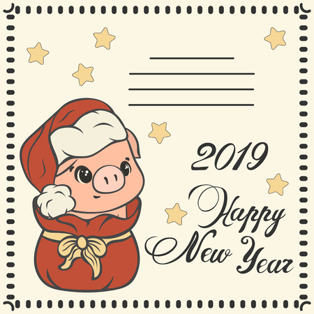 Happy New Year. Cartoon piglet gets out of Santa Clauss sack. Childrens Xmas design. Make a wish post card.