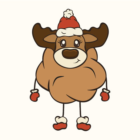 Cute Christmas cartoon deer character with antler vector image isolated. Funny deer plush toy Children's Xmas design. Merry Christmas and Happy New Year Greeting card. Stuffed animal in mittens boots