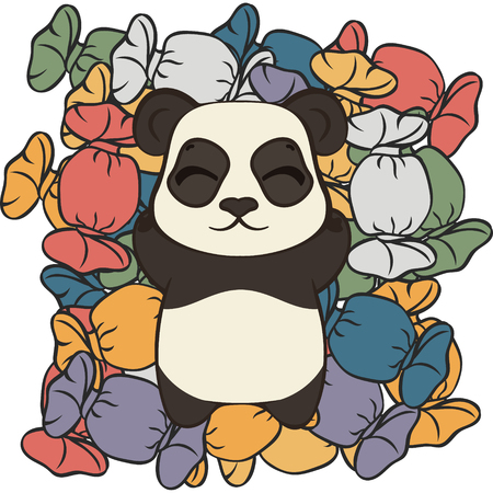 Cute panda bear lie on sweets vector image. Bearcat sweet tooth. Happy cartoon panda and sweet life. Panda dreams of sweets. Mountain of candies in multi-colored wrappers. Panda in confectioners shop