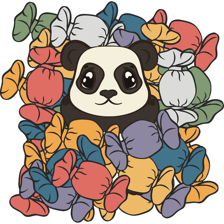 Cute panda bear lie on sweets vector image. Bearcat sweet tooth. Happy cartoon panda and sweet life. Panda dreams of sweets. Mountain of candies in multi-colored wrappers. Panda in confectioner's shop