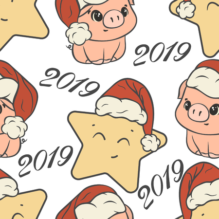 Santa's hat cartoon character isolated on white. Merry Christmas and Happy New Year design in funny style. Xmas symbol print 2019 repeated pattern