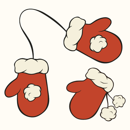 Red Santas mittens collection isolated vector illustration. Christmas theme. Merry Christmas and Happy New Year design. Greeting card, invitation decoration. Xmas symbol set. Mittens with pompon.
