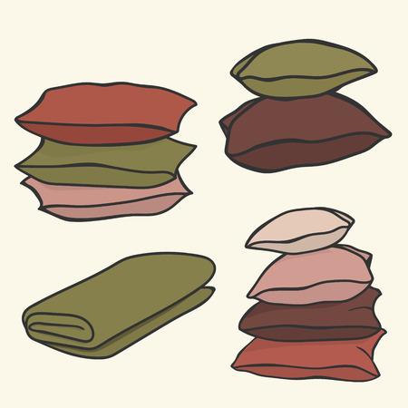 Juego de almohadas y manta. Montón de almohadas de diferentes colores. Icono de gráfico de vector de estilo de dibujos animados para impresión de tienda textil. Conjunto de accesorios para dormir. Iconos de colores apilados colcha y almohada.