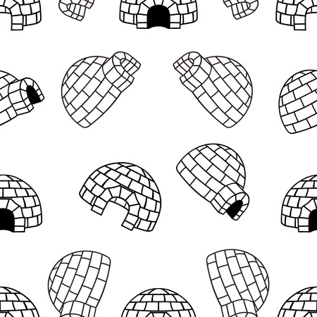 Ice house igloo vector color seamless pattern, isolated on white. House from ice blocks design for print. Winter dwelling of Eskimos, minimal style. Pattern in northern style
