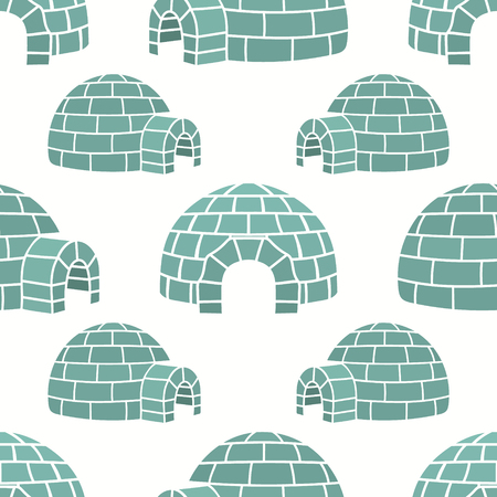 Ice house igloo vector color seamless pattern, isolated on white. House from ice blocks design for print. Winter dwelling of Eskimos, minimal style. Pattern in northern style. Igloo silhouette.