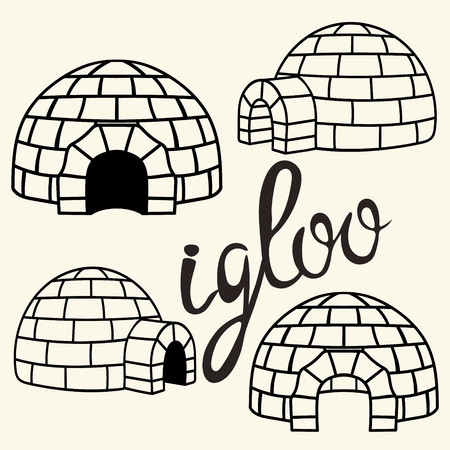 Ice house igloo set, vector simple design. House from ice blocks design for template or icon. Winter dwelling of Eskimos, minimal icon isolated on light background. Igloo