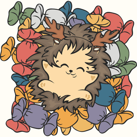 Cute hedgehog lie on sweets vector image. Hedgehog sweet tooth. Happy cartoon hedgehog and sweet life. Hedgehog dreams of sweets. Mountain of candies in multi-colored wrappers. Confectioners shop