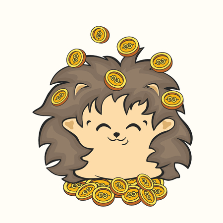 Cute happy hedgehog sits on mountain of gold coins vector image. Hedgehog character throws money in air. Rich hedgehog animal mascot bringing money. Good luck charm, attracting money. Energy of wealth