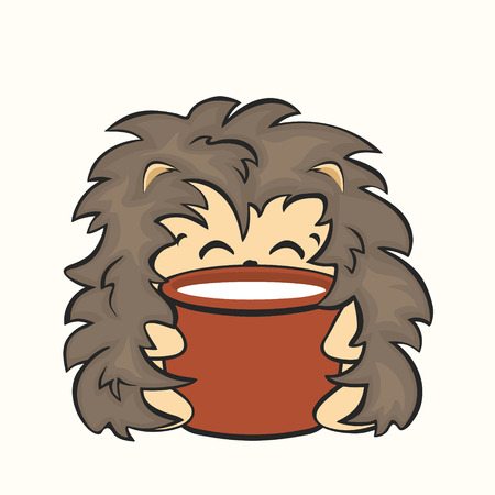 Cute happy hedgehog sits on a pot of milk, vector image isolated. Hedgehog has breakfast, animal drinks milk. Stickers print for children. Satisfied fat hedgehog, funny style flat design. Vettoriali