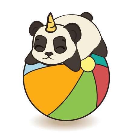 Cute panda bear character with unicorn horn. Panda on beach ball isolated. Panda-unicorn play with ball vector image. Bearcat plays on beach. Pandacorn on vacation. Funny animal on summer holiday.