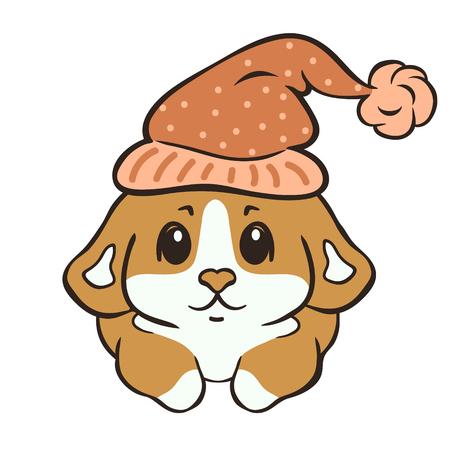 Waliser Corgi Hunderasse Vektor-Illustration. Netter Corgiwelpe in der Nachtmützenkarikatur. Flauschiger Corgi Pembroke, liebe Hunde. Lustiges kleines Hündchen im Schlafhut. Hundethema im flachen Stil. Hund auf Pyjamaparty.