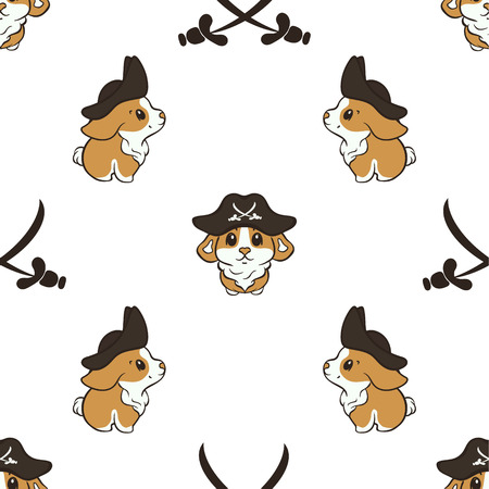 Welsh corgi dog breed vector seamless pattern. Cute corgi puppy in pirate hat cartoon repeated pattern. Simple print for pet shop. Funny little pirate in Capitan's costume isolated on white background.  イラスト・ベクター素材