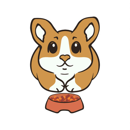 Welsh corgi dog breed vector illustration. Cute puppy sits before a bowl, cartoon icon. Fluffy Corgi Pembroke. Simple emblem for pet shop, zoo ads, animal food package. Dog with forage, feeding.