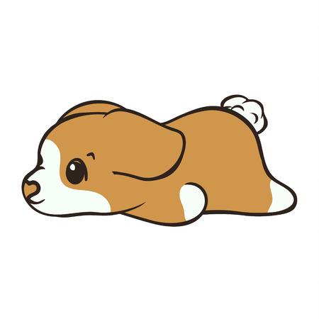 Illustration vectorielle de Welsh corgi chien race. Chiot mignon couché de vue arrière, icône de dessin animé. Fluffy Corgi Pembroke, j'adore les chiens. Emblème simple pour animalerie, publicités de zoo, emballage d'aliments pour animaux. Chien triste fatigué