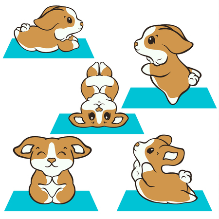 Welsh corgi dog practices yoga vector illustration set. Cute corgi puppy in sport. Fluffy Corgi Pembroke, love dogs. Morning exercises on rug. Healthy lifestyle with funny puppy.