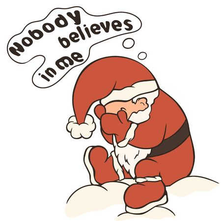 Merry Christmas cartoon sad Santa Claus vector image isolated. Santa Claus crying and upset that no one believes in him. Upset Santa, sits and cry. Problems of self-perception. No faith in miracles.