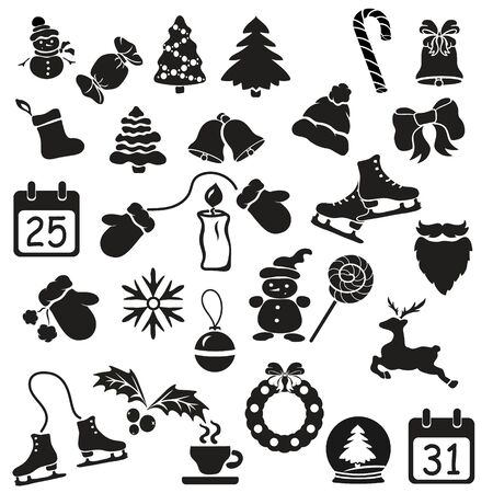 Big vector set with minimal line style icon. Set of icons with winter and christmas symbols template. Christmas elements, traditional components of Christmas holidays. web icon. Emblem for print Çizim
