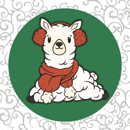 Christmas cartoon lying lama character in scarf and fur headphones vector image. Merry Christmas greeting card with fun alpaca. Funny winter card with a cartoon llama. New Years poster.