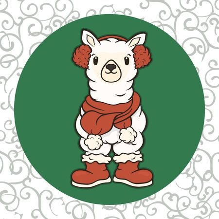 Christmas cartoon lama character in scarf and fur headphones vector image. Merry Christmas greeting card with fun alpaca. Funny winter card with a cartoon llama. New Years poster. Illusztráció