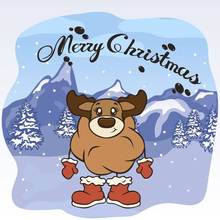 Christmas cartoon deer character in Santa's boots and mittens vector image. Merry Christmas greeting card with fun antler. Funny winter card with a cartoon reindeer. New Year's elk poster. Illusztráció