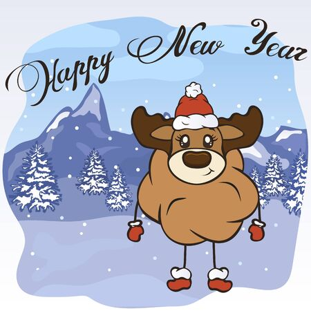 Christmas cartoon deer character in Santa's hat, boots and mittens vector image. Merry Christmas greeting card with fun antler. Funny winter card with a cartoon reindeer. New Year's elk poster.