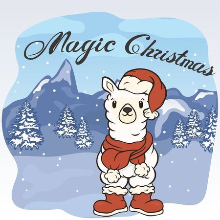 Christmas cartoon lama character in Santas boots, hat and scarf with pompon vector image. Merry Christmas greeting card with fun alpaca. Funny winter card with a cartoon llama. New Years poster.