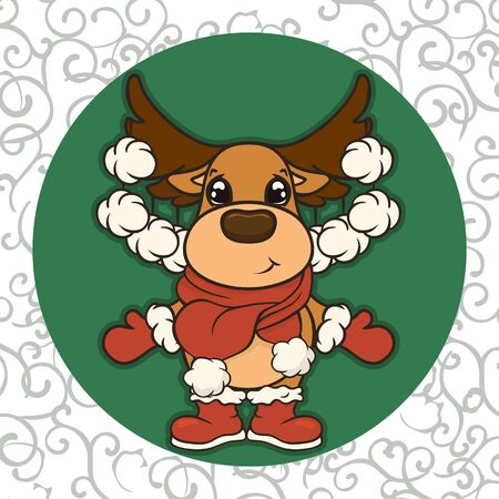 Christmas cartoon deer in scarf, boots and mittens vector image. Cute Reindeer in Christmas. Merry Christmas greeting card with fun deer. New Year's poster. Santa Claus's friend.