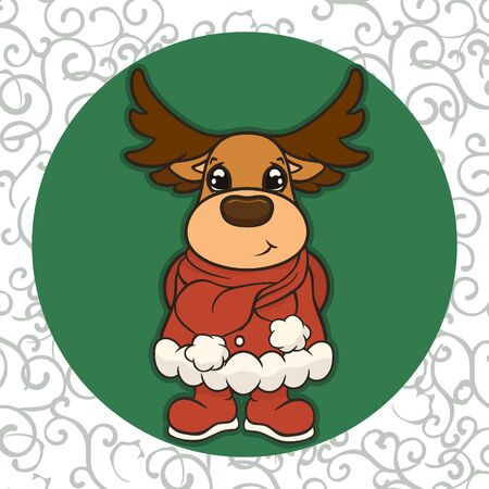 Christmas cartoon deer in Santa's costume scarf and boots vector image. Cute Reindeer in Christmas. Merry Christmas greeting card with fun deer. New Year's poster. Santa Claus's friend. Illustration