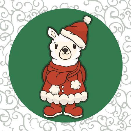 Christmas vector cartoon lama character in Santas costume: boots, hat and scarf with pompon. Merry Christmas greeting card with fun alpaca. Funny winter card with a cartoon llama. New Years poster.