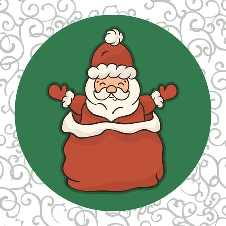 Christmas cartoon Santa Claus in red bag with gifts vector. Merry Christmas and Happy New Year design for Christmas card. Santa look out of Santa Claus's sack. Children's Xmas mood. Saint nicolas