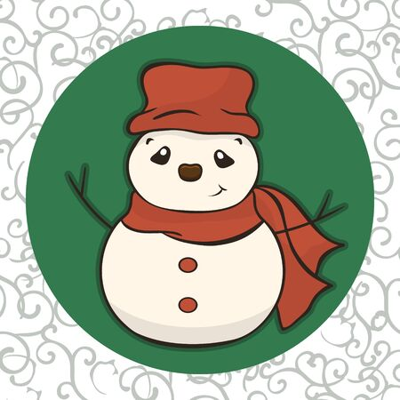 Christmas cartoon snowman in scarf and red hat vector image. Winter friend of children. Merry Christmas greeting card with fun snowman. New Years poster. Molded from snow character.