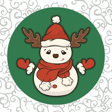Christmas cartoon snowman in scarf, mittens and red hat with antlers vector image. Winter friend of children. Merry Christmas greeting card with snowman. New Year's poster. Molded from snow character.