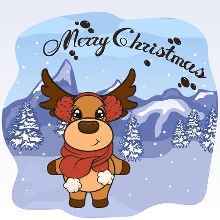 Christmas cartoon deer in scarf and red fur headphones vector image. Cute Reindeer in Christmas. Merry Christmas greeting card with fun deer. New Years poster. Santa Clauss friend.