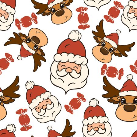 Christmas vector seamless pattern design with candies, Santa's head and deer in red hat isolated on white background. Christmas mood. Repeated reindeer print. Merry Christmas Happy New Year design. Archivio Fotografico - 130349135