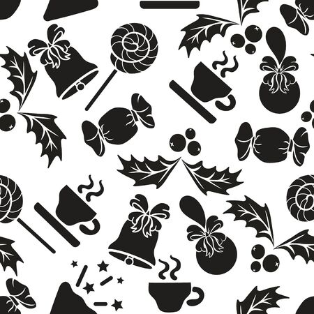 Christmas black and white repeated pattern isolated on white background. Sweet, bonbon, ball, bow, lollipop, cup; cupful, holly, berries, mistletoe icon silhouette seamless pattern. Minimal print.