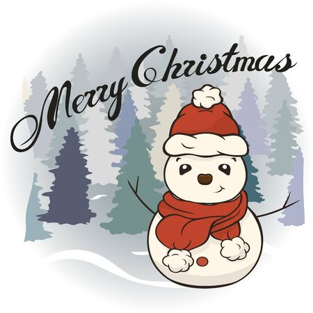 Christmas cartoon snowman in scarf and red hat vector image. Winter friend of children. Merry Christmas greeting card with fun snowman. New Year's poster. Molded from snow character.