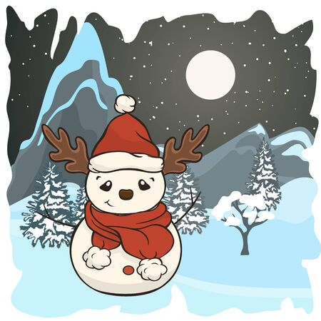 Christmas cartoon snowman in scarf and red hat with antlers vector image. Winter friend of children. Merry Christmas greeting card with fun snowman. New Year's poster. Molded from snow character.