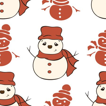 Christmas vector seamless pattern design with snowman in Santa's costume: hat, mittens and scarf isolated on white background. Christmas mood. Repeated print. Merry Christmas Happy New Year design.