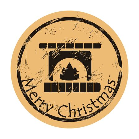 Fireplace with fire on craft paper background vector round shabby emblem design. Hearth silhouette, old retro style. Mail stamp. Round seal imitation. Vintage grunge icon stamp. Christmas theme.