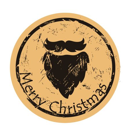 Santa's beard on craft paper background vector round shabby emblem design. Beard silhouette, old retro style. Mail stamp isolated. Round seal imitation. Vintage grunge icon stamp. Christmas theme
