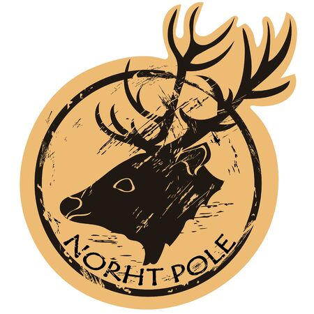 North Pole vector round shabby emblem design with deer head, old retro style. Santa Claus mail stamp isolated. Round seal imitation. Reindeer on craft paper background. Vintage grunge icon stamp.