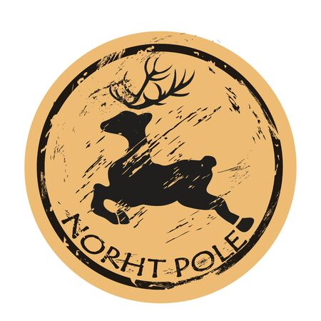 North Pole round shabby emblem design with flying deer silhouette, old retro style. Mail stamp isolated. Round seal imitation. Reindeer jumping  on craft paper background Vintage grunge icon stamp Çizim