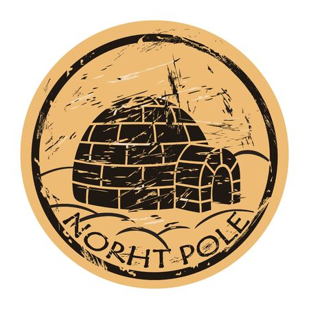 North Pole vector round shabby emblem design with igloo in old retro style. Ice house igloo sign round seal imitation. House from ice blocks on craft paper background. Vintage grunge icon stamp.
